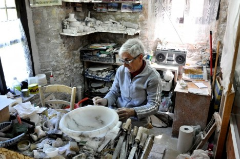 Alabaster Craftsman in Volterra, Tuscany, Italy