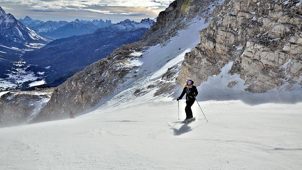 Skiing in Cortina d'Ampezzo, Veneto, Italy
