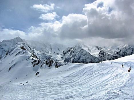 Skiing in Passo Tonale, Trento, Italy