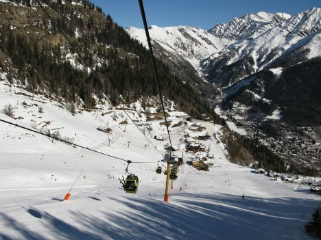 Skiing in Courmayeur, Aosta Valley, Italy
