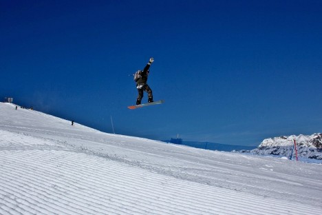 Snowboarding in Livigno, Lombardy, Italy