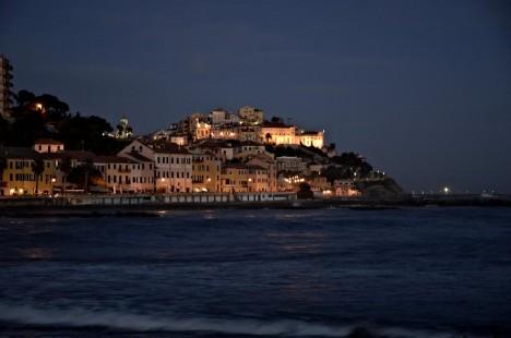 Imperia at night, Liguria, Italy