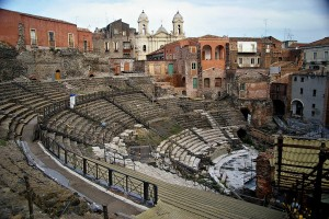 Ruins of Greek-Roman theater, Catania, Sicily, Italy
