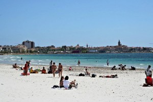 View of Alghero from Lido's beach, Sardinia, Italy