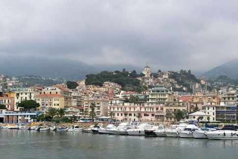 Sanremo as seen from the sea, Liguria, Italy