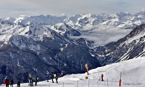 Skiing in Sauze d'Oulx, Piedmont, Italy