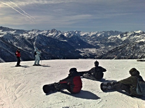 Snowboarding in Sauze d'Oulx, Piedmont, Italy