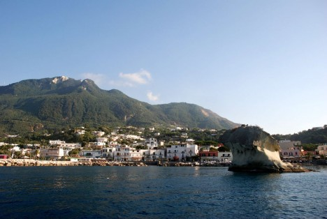 Lacco Ameno on Ischia island with Monte Epomeo, Campania, Italy