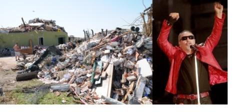 Vasco Rossi in devasted area striken by tornado in Venice