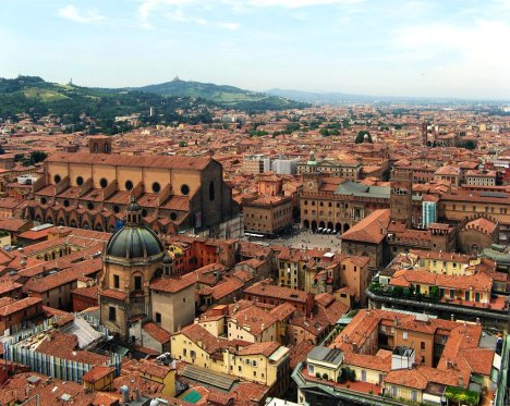 Bologna as seen from the top of Torre degli Asinelli, Emilia-Romagna, Italy
