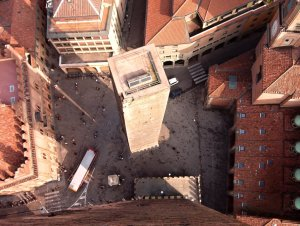 Towers of Bologna as seen from the higher one, Emilia-Romagna, Italy