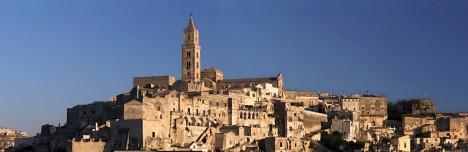 Matera Cathedral, panoramic view with the Sassi, Basilicata, Italy