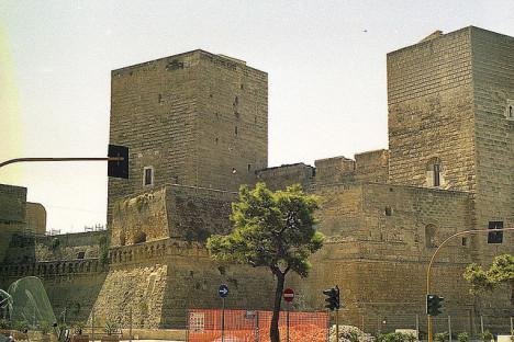 A closer view of Castello Svevo, Bari, Italy