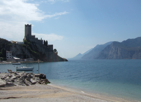 Lake Garda with castle of Malcesine, Italy