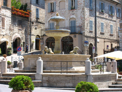 Assisi medieval fountain, Umbria, Italy