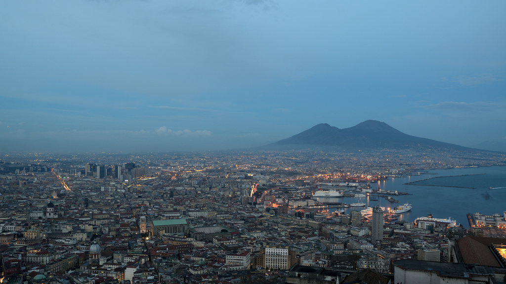 Skyline Of Naples With Mount Vesuvius Campania Italy