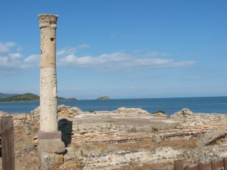 Ancient roman and fenicians ruins on south Sardinia (Nora), Italy