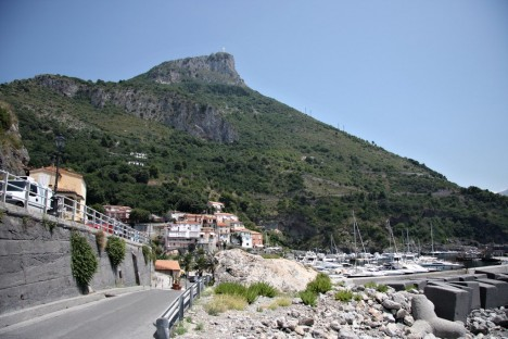Maratea with statue of Christ on the mountain above, Basilicata, Italy