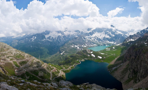 Lago Serrù and Lago Agnel from Colle del Nivolet (2,612 metres), Gran Paradiso National Park, Italy
