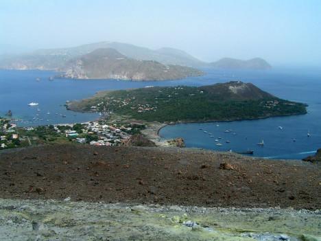 Aeolian islands taken from Vulcano, Sicily, Italy
