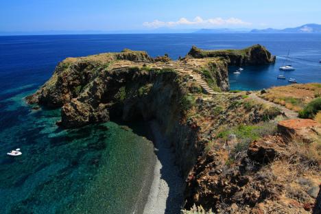 Panarea, Cala Junco at Punta Milazzese, Lipari, Sicily, Italy