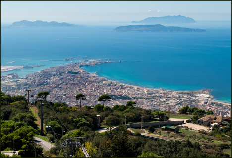 Trapani from mountains, Sicily, Italy