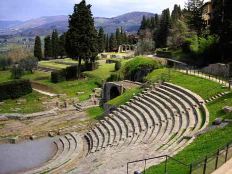 Roman theatre in Fiesole, Tuscany, Italy