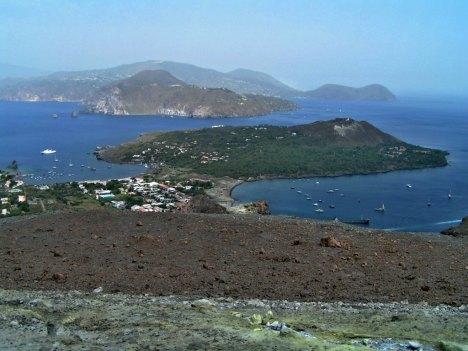 View of Lipari from Vulcano island, Sicily, Italy