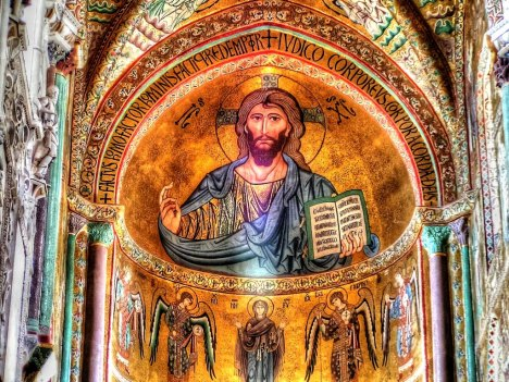Paintings in Cefalu cathedral, Sicily, Italy