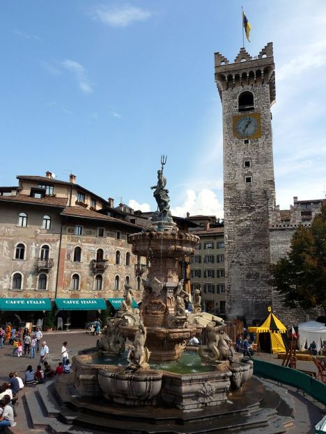 Fountain of Neptune and Torre Civica, Trento, Italy