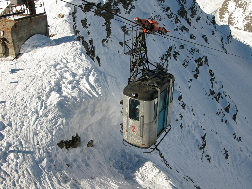 Gondola at Courmayeur ski resort, Italy