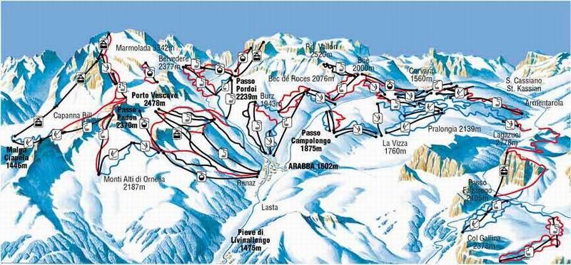 Arabba ski map skiing