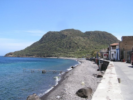Capo Graziano from Filicudi Porto, Aeolian islands, Sicily, Italy