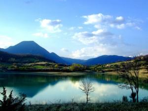 Lake Castel San Vincenzo and Mainarde mountains, Abruzzo National Park, Italy