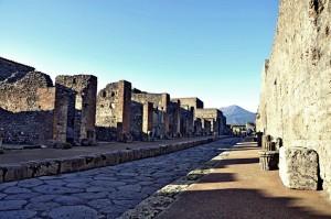 Pompeii Ruins Street with Mount Vesuvius, Campania, Italy