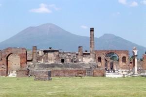 Pompeii with Vesuvius at the background, Campania, Italy