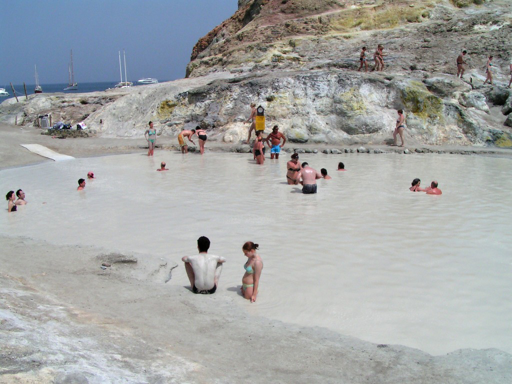 Sulphur baths on Vulcano island, Aeolian Islands, Sicily, Italy