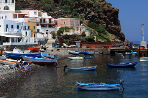 A port in Alicudi, Aeolian Islands, Sicily, Italy