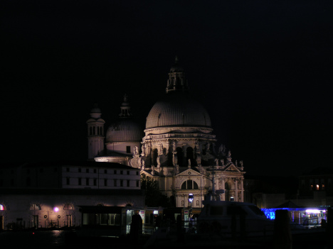 Basilica di Santa Maria della Salute in the night, Venice, Veneto, Italy