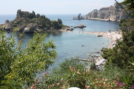 Mazzaró Bay and Isola Bella, Taormina, Sicily, Italy