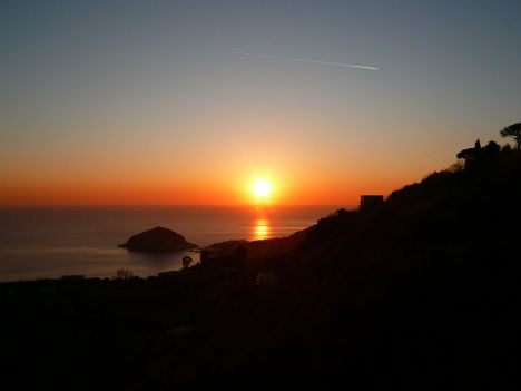 Sunset as seen from, Barano, Ischia, Campania, Italy