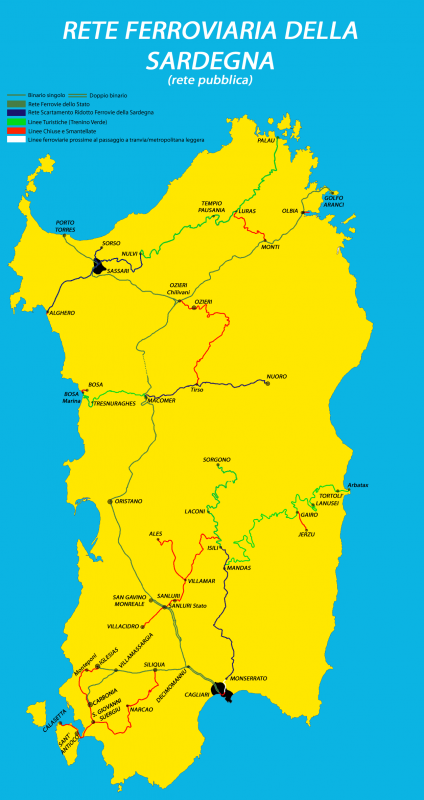 Map of Sardinian rail network with Trenino Verde marked with green, Italy