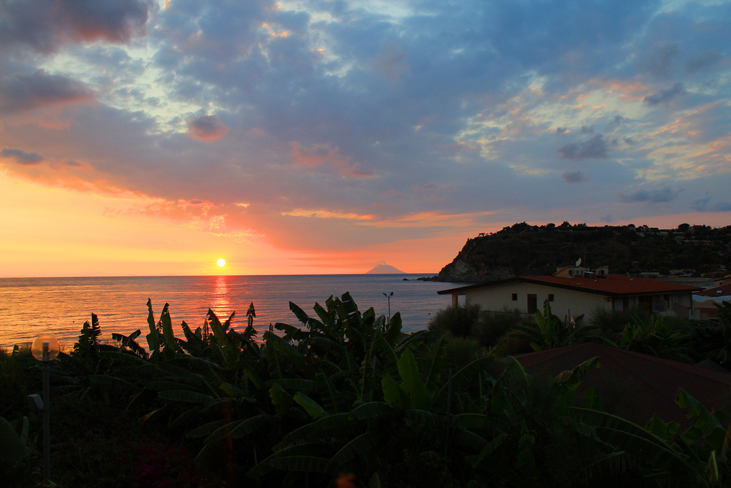 Sunset in Calabria vith a view of Stromboli, Italy