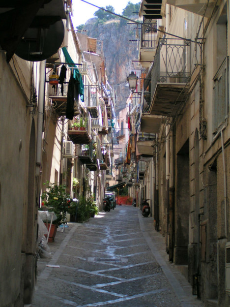 Typical narrow street in Sicilian towns, Italy