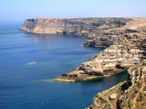 North-Eastern cliffs of Lampedusa island, Sicily, Italy