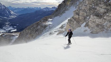 Skiing in Cortina d'Ampezzo, Dolomites, Veneto, Italy