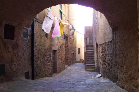 Streets on Giglio island, Tuscany, Italy