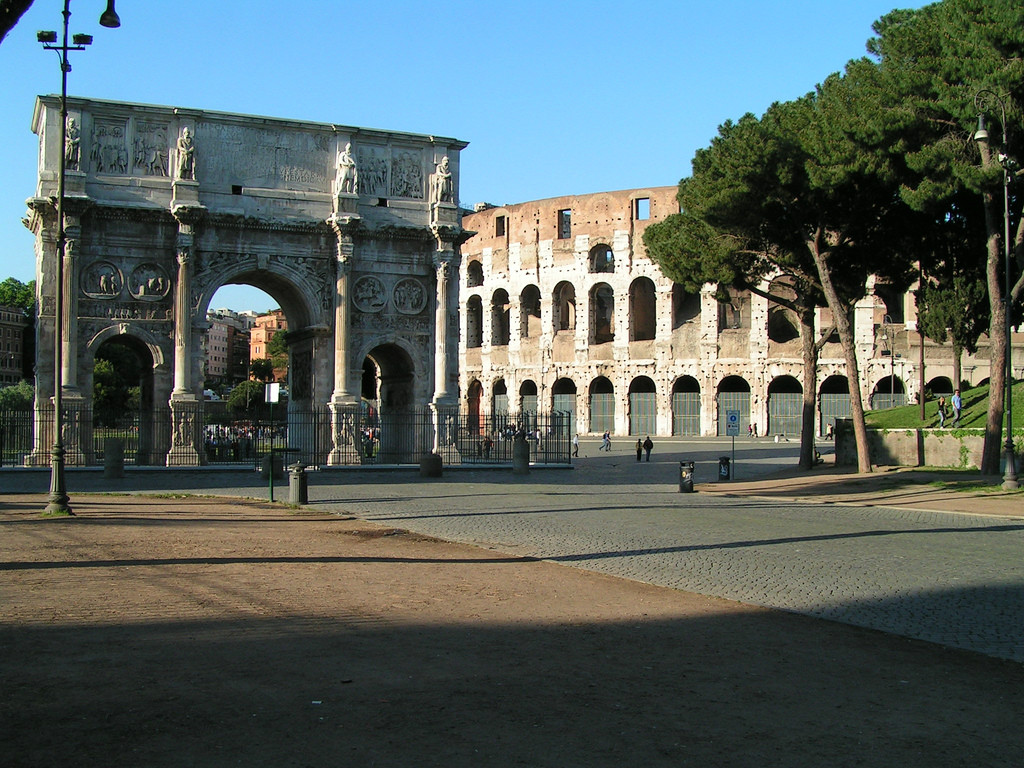 Empty areas around Colosseum in May, Rome, Italy