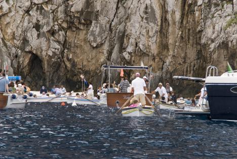 Traffic jam at Blue Grotto, Capri, Campania, Italy