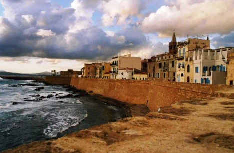 Catalan city walls in Alghero, Sardinia, Italy
